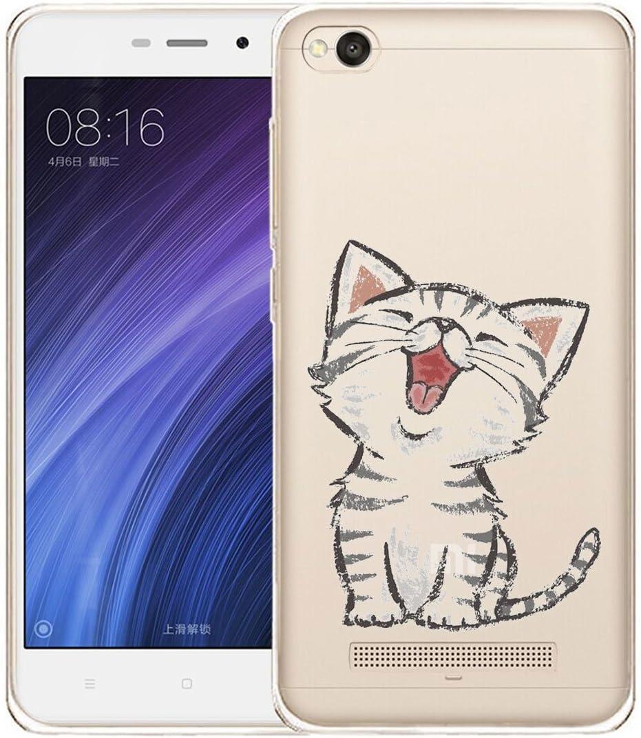 Funda para Xiaomi Redmi 4A , IJIA Transparente Adorable Gatito TPU ...