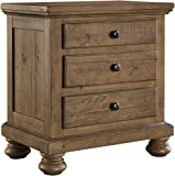 "Ashley Trishley Collection B659-93 28"" 3-Drawer Nightstand with Natural Saw Marks Felt Lined Top Drawer and Solid Pine Wood Materials in Light"