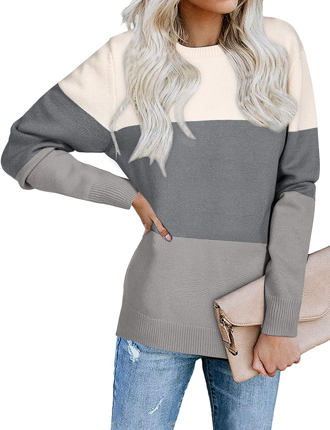 OUGES Womens Color Block Knit Sweater Long Sleeve V Neck Patchwork Casual Pullover