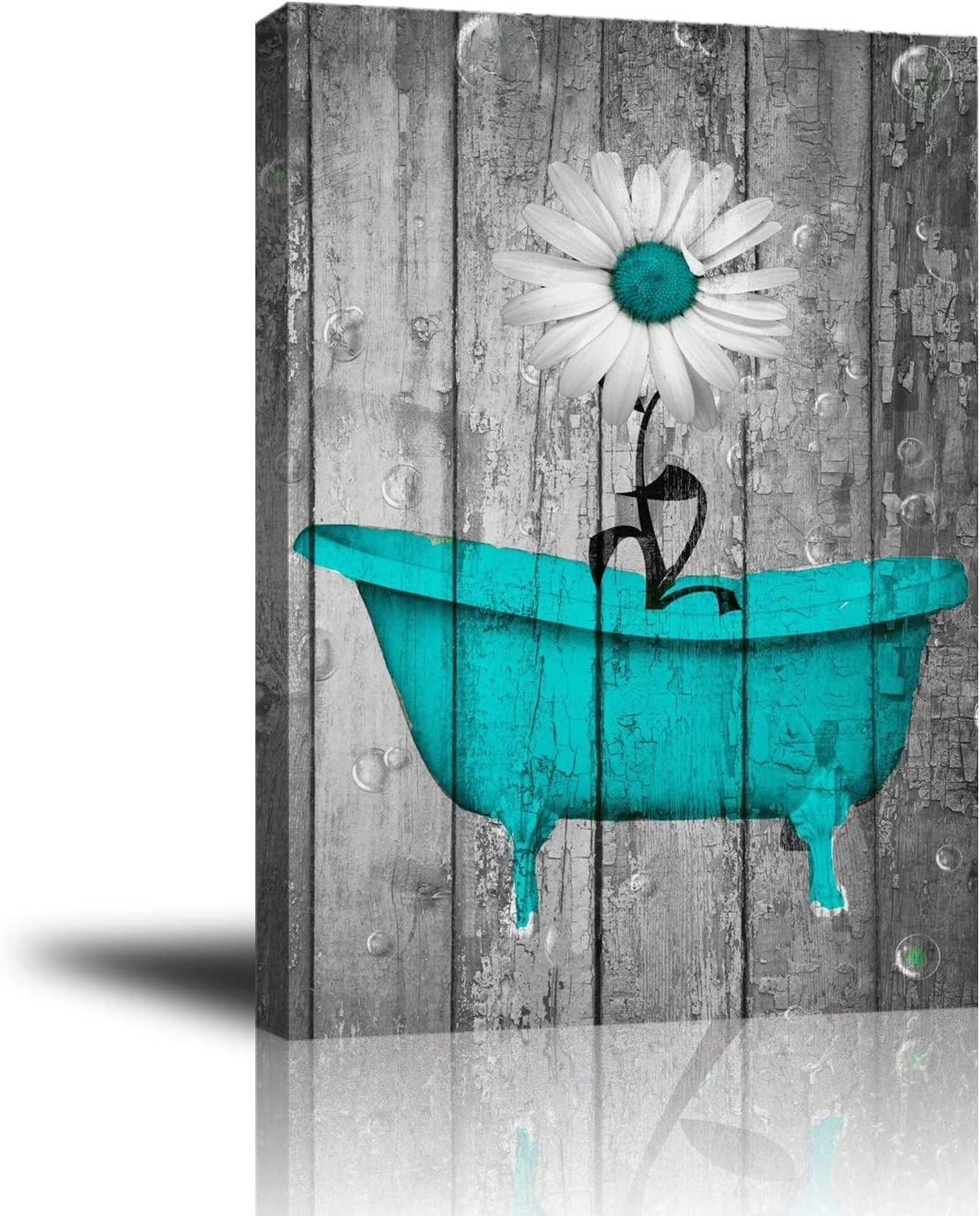 Amazon Com Giclee Canvas Wall Art For Home Decoration Abstract Canvas Wall Decor With Teal White Rustic Flower Bathtub Modern Paintings Picture Decorative Artwork For Livingroom Bedroom Bathroom 16x20 Posters Prints