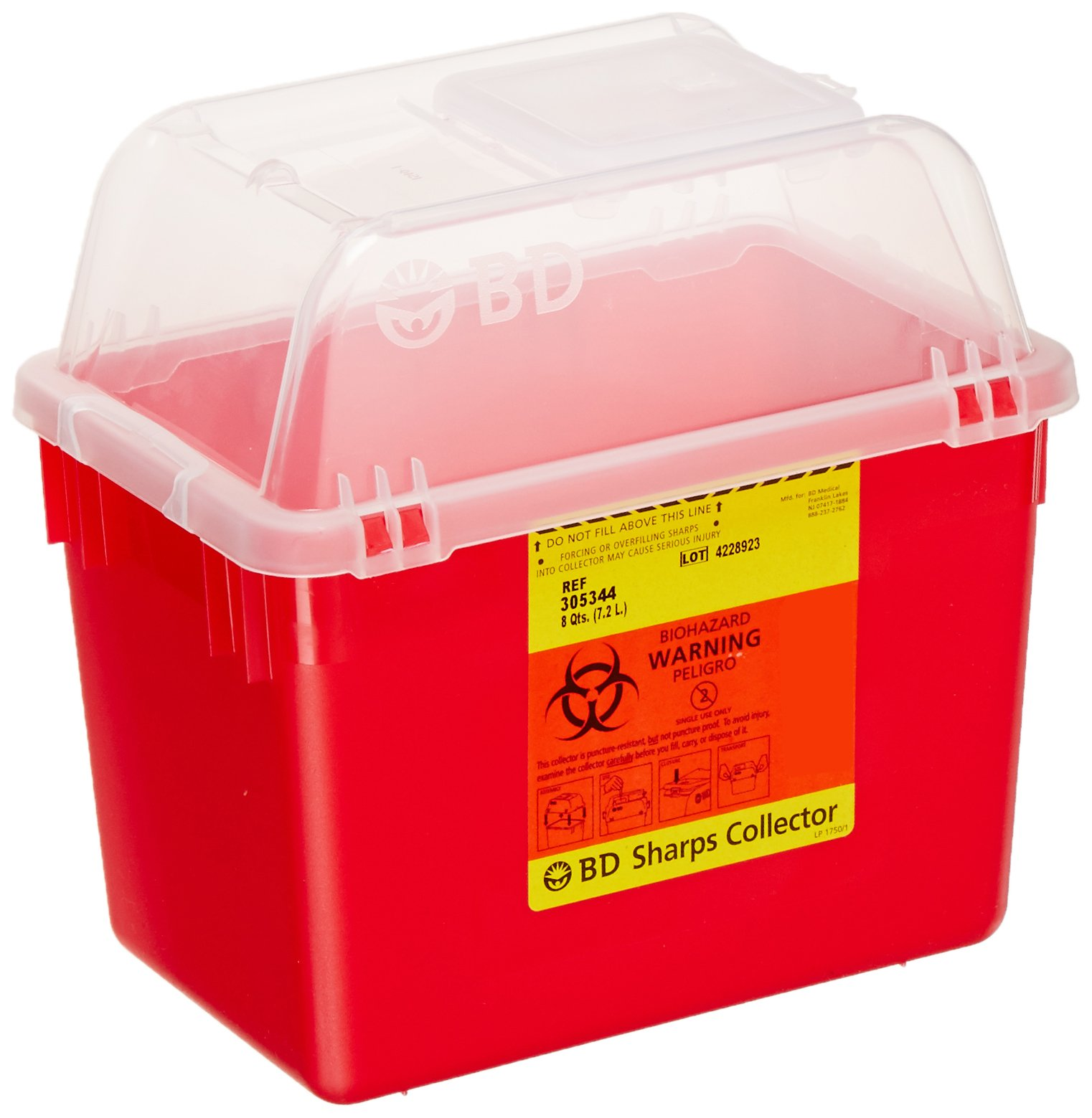 Becton Dickinson 305344 Red Multi-Use Nestable Collector with Regular Funnel Clear Top, 8qt Capacity (Case of 24)