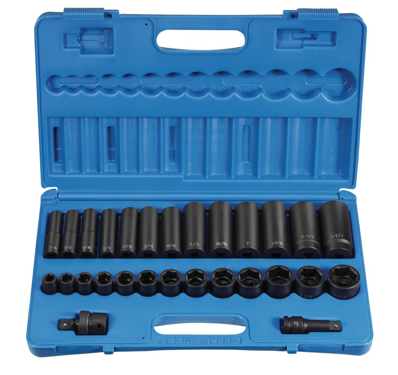 Grey Pneumatic (1328RD) 1/2'' Drive 28-Piece Standard/Deep Socket Set
