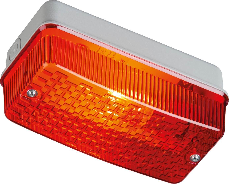 Knightsbridge IP65 100W E27 Bulkhead Red Prismatic Diffuser /& Aluminium Base