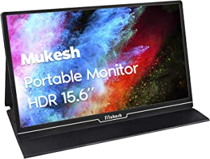 Mukesh Portable Gaming Monitor 15.6 Inch IPS USB C Raspberry Pi Monitor 1920 x 1080 Full HD External Monitor with Type-C Mini HDMI for Laptop PC MAC PS4 Xbox Phone, Smart Cover Included