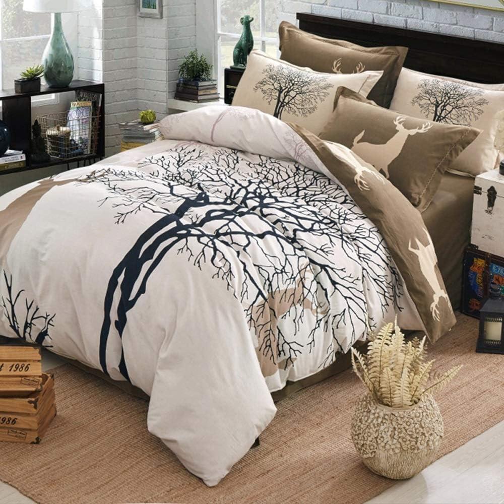 SUXIU Elegante Juego de cubrecama: 100% Tejido de algodón, Ciervo marrón y cobertor del árbol - Juego de Cama tamaño King, 4 Piezas (Tamaño : King): Amazon.es: Hogar