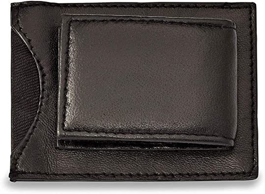 Jewels By Lux Black Leather Magnetic Money Clip with ID Slot