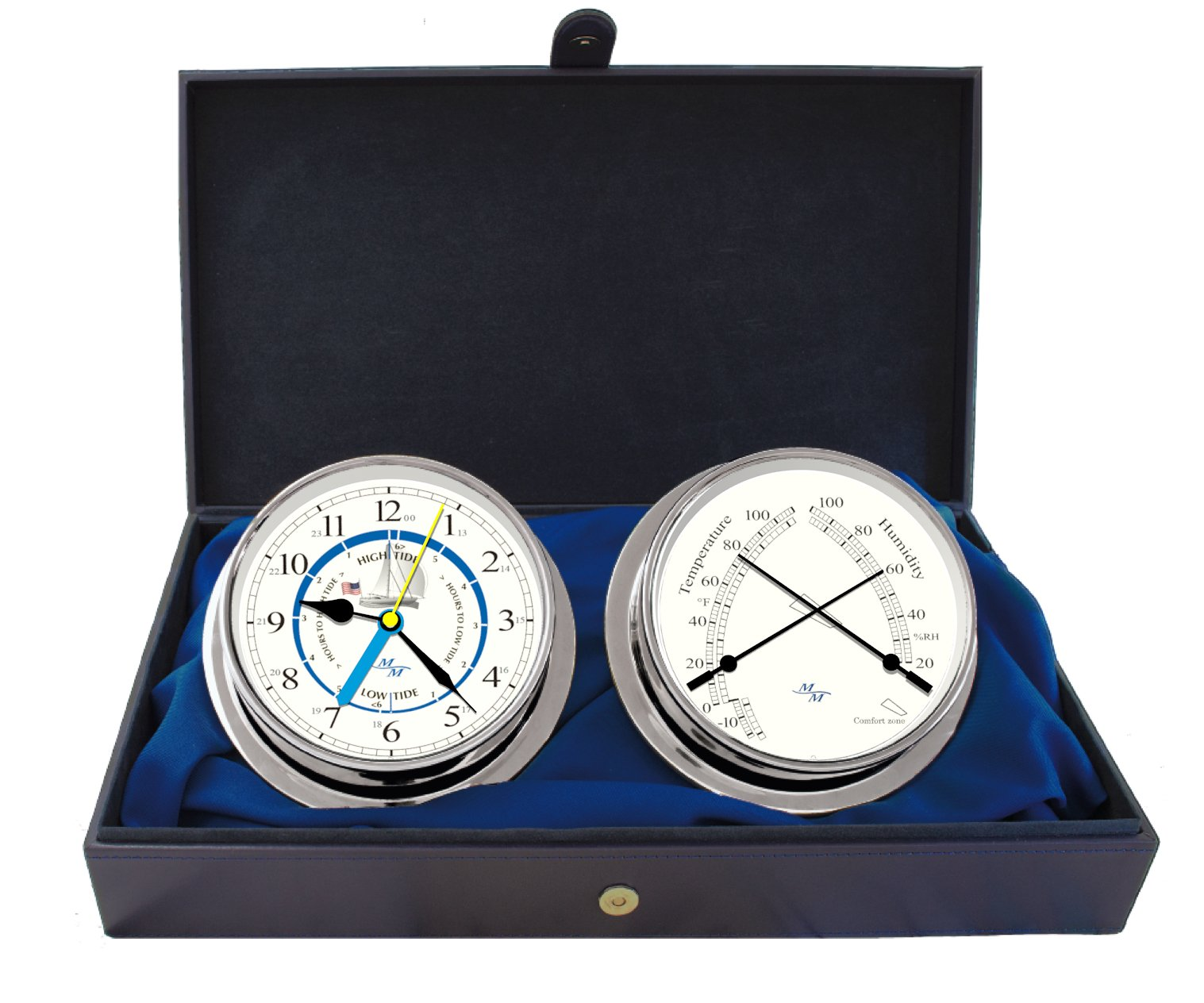 Cabin Gift Set Time & Tide Clock & Comfort Meter by Master-Mariner, Chrome finish, Ivory ship dial