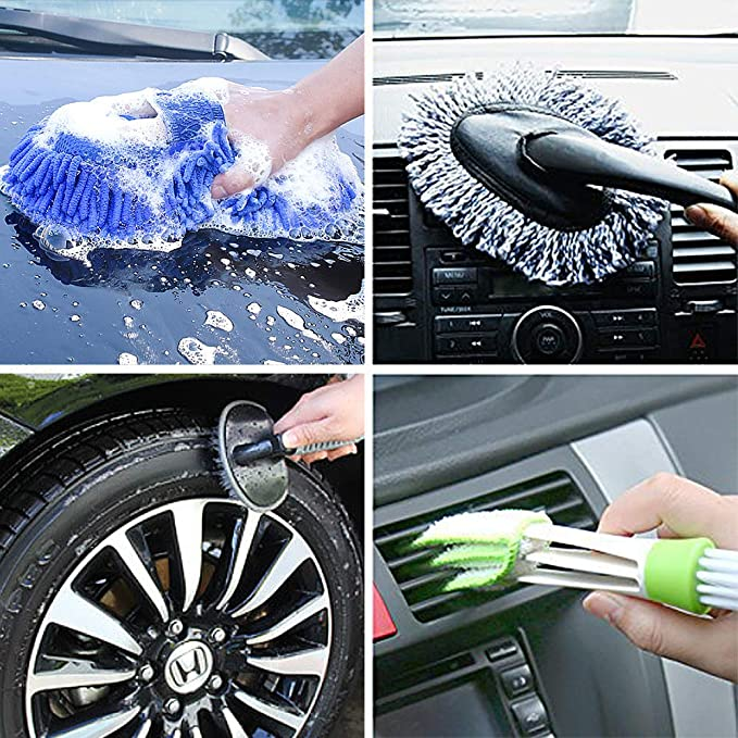 Car Tire Wheel Brush Chenille Wash Sponge Duster Faburo 9pcs Car Wash Cleaning Tool Kit with Storage Bag and 10pcs Disposable Gloves Double Head Car Vent Brush Duster Microfiber Towel Cloths