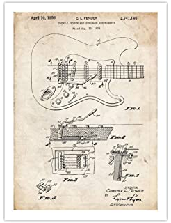 1956 Fender Stratocaster Guitar Patent Print Fender Guitar Patent Art