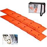 Jumbl All-Weather Foldable Auto Traction Mat Tire Grip Aid, Best Snow Chain Alternative, Anti Spinning Snow Grabber, Ideal To Unstuck Your Car From Snow, Ice, and Mud, w Bonus Storage Pouch (2 Pack)