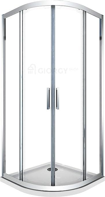 Cabina de ducha curvada semicircular, angular, redonda, 80 x 80 cm 90x90 cm 190 cm de altura, de cristal, de 6 mm, transparente, de fácil limpieza, perfil cromado, con tirador de acero
