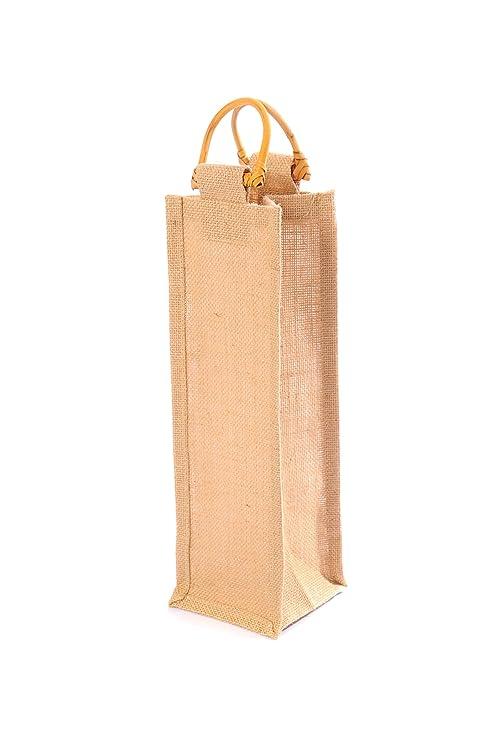 4 x bolsas de regalo de vino yute natural (botella individual) asas de caña