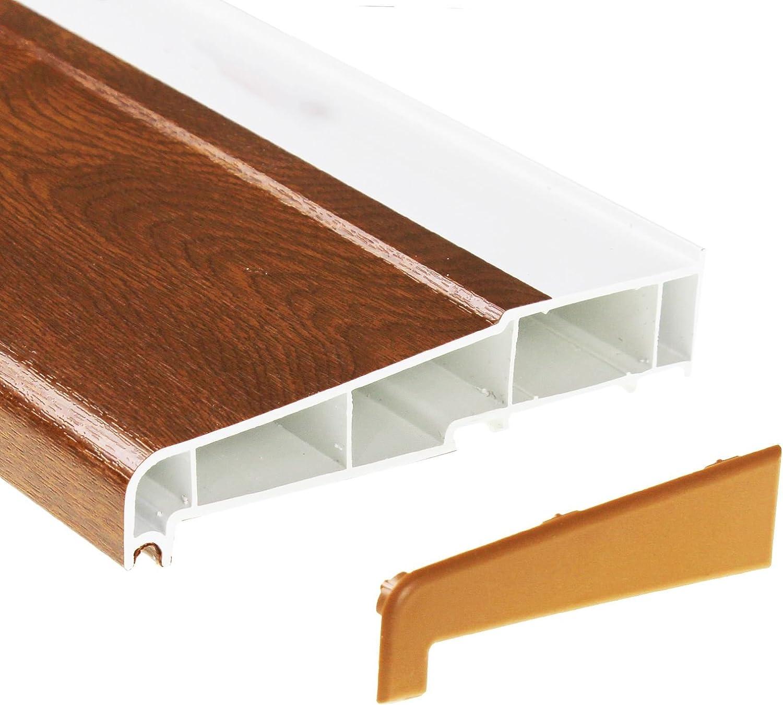 150mm x 2m Golden Oak UPVC Plastic External Window Sill with 2 End Caps