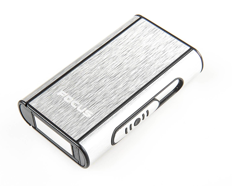 Focus Portasigarette automatico di alluminio (9.5cm x 5.7cm x 1.8cm), argenteo, Mod. 464-01 DE