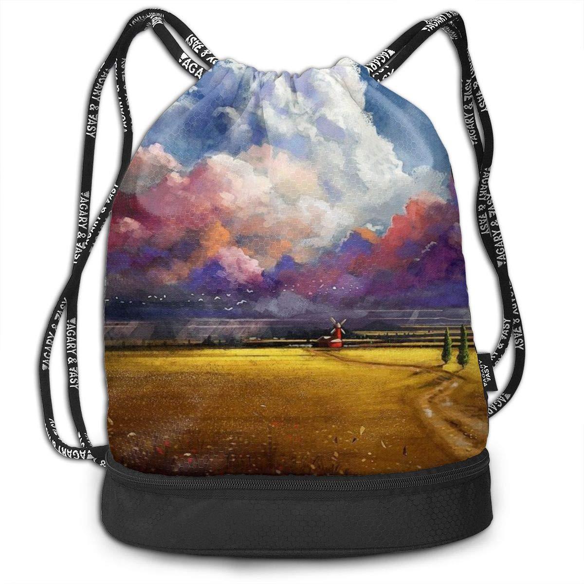 Windmill Sunshine Day Printed Sackpack Women Kji Gym Sack Drawstring Bag Sport Cinch Pack Backpack for Men