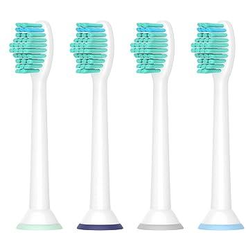 Para la cabeza del cepillo de dientes Sonicare de Philips, cabezas de cepillo de repuesto Yanban para HX6530 HX6014 Paquete de 4 cabezas Healthywhite + ...