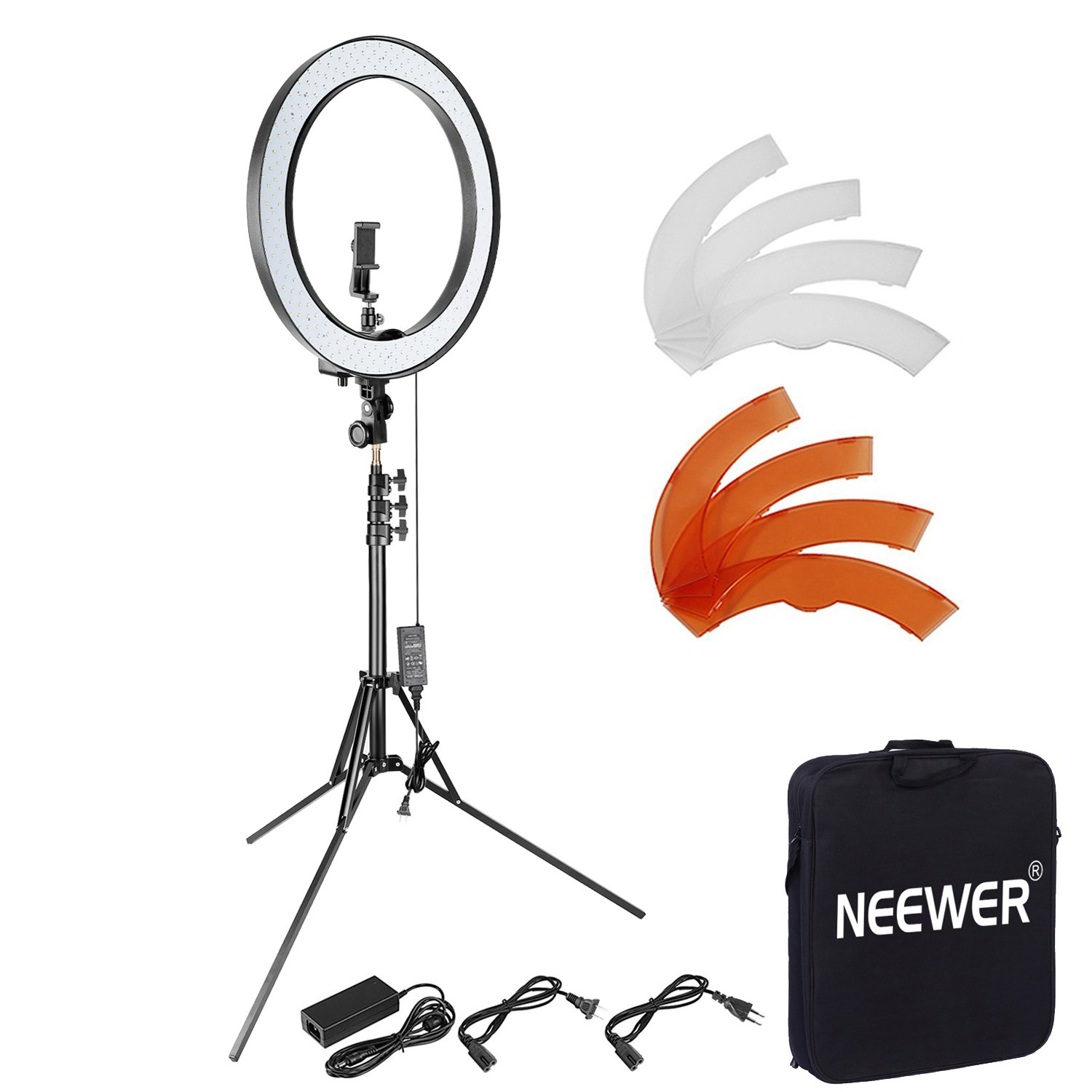 Neewer 18 inches 55W Dimmable LED Ring Light and Light Stand Lighting Kit - 240 LED Beads SMD Ring Light, 6.5 feet Adjustable Light Stand, Ball Head Hotshoe Adapter for Camera Photo Studio YouTube Video 90090974@@os1
