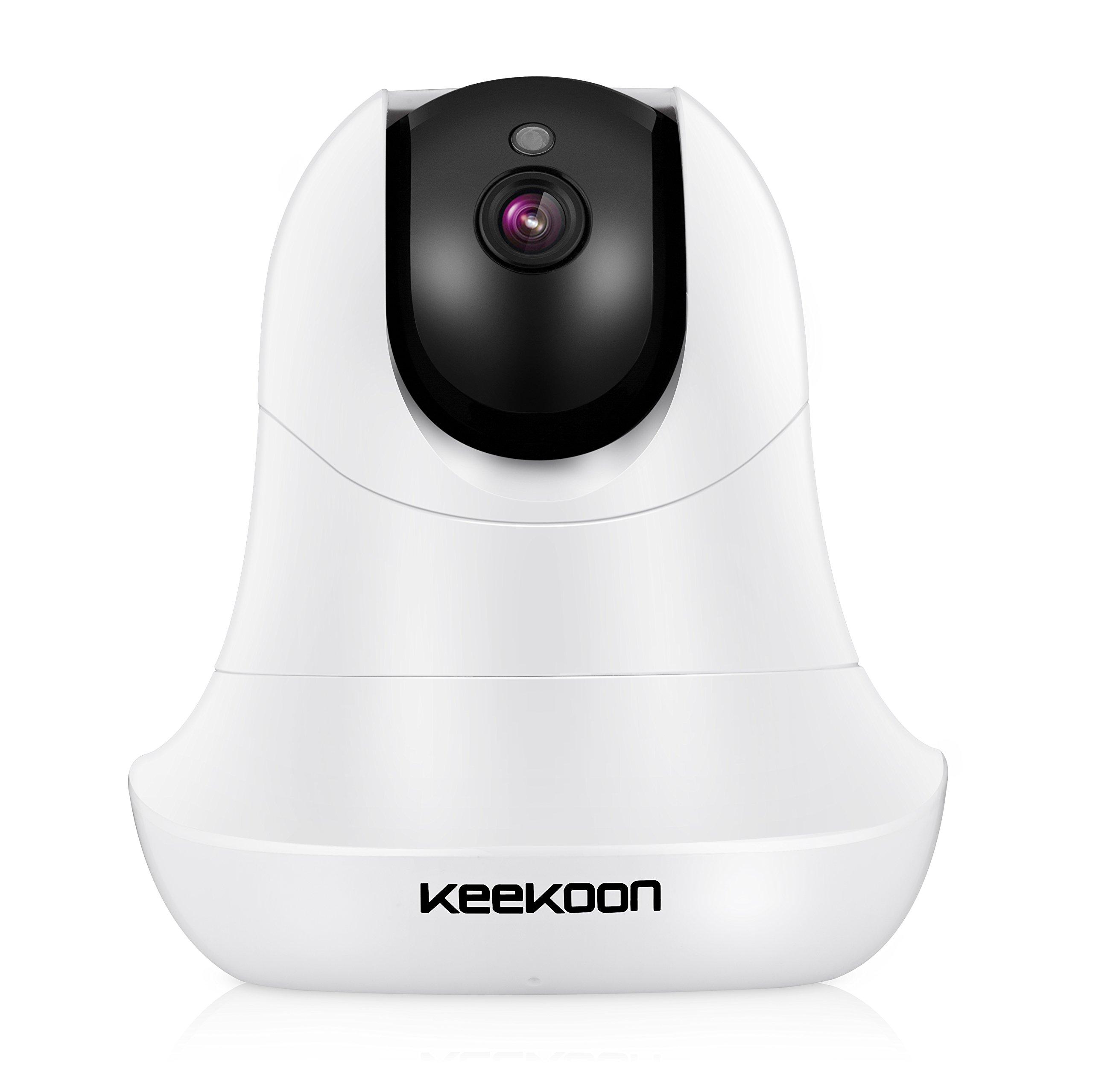 KEEKOON HD 1080P IP Camera Wireless WiFi Baby Pet Monitor Plug/Play Pan/Tilt 2-Way Audio Night Vision Home Security Surveillance Camera (white)