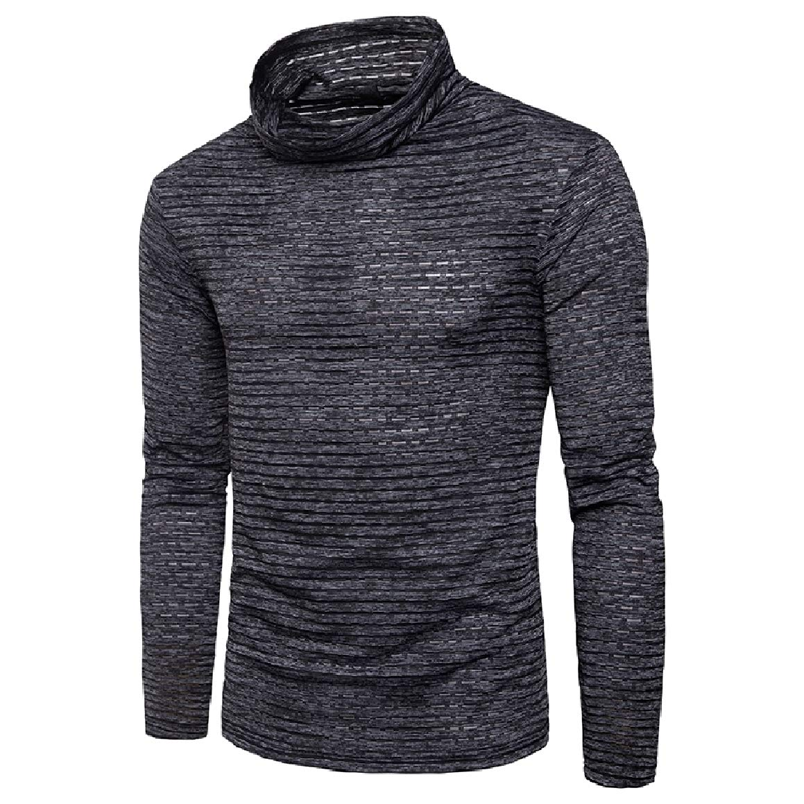 Abetteric Mens Turtleneck Plus Size Style African Warm Tees Top Tshirts