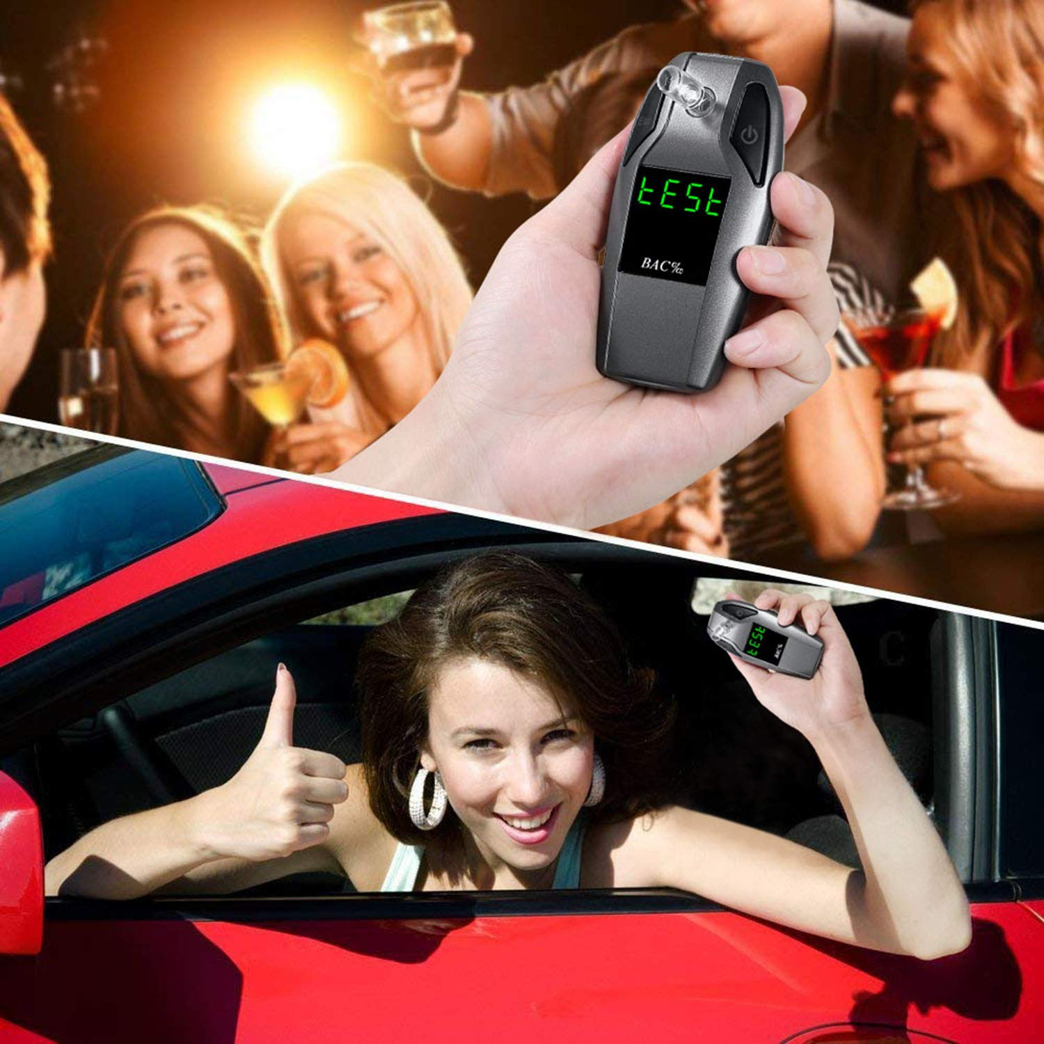 JASTEK Breathalyzer, [2019 New Version] Fuel Cell Sensor Digital Breath Alcohol Tester and Professional Grade Blood Alcohol Content Detector Made of Zinc Alloy by JASTEK (Image #1)