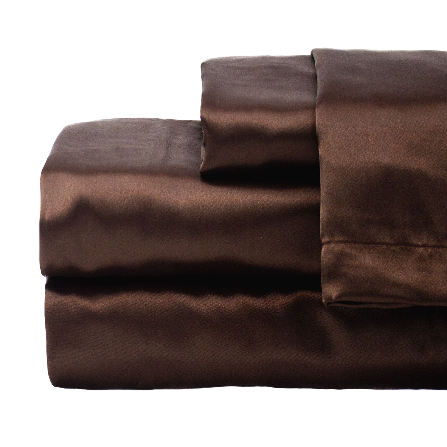 zry_dlifa King size Brown Hotel Collection Satin Sheet Sets