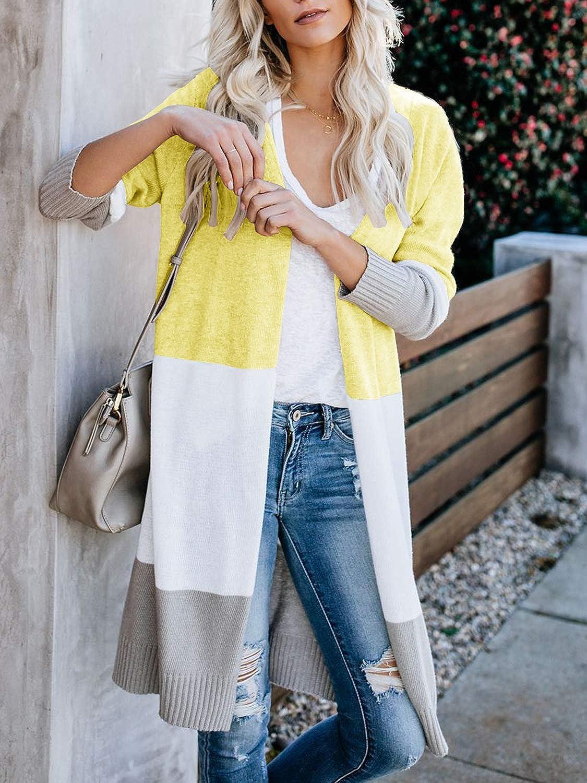 OULESIS Womens Open Front Long Sleeve Boho Boyfriend Knit Chunky Cardigan Sweater Outwear with Pockets