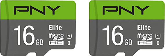PNY 16GB Elite Class 10 U1 microSDHC Flash Memory Card 2-Pack (P-SDU16GX2U185GW-GE)