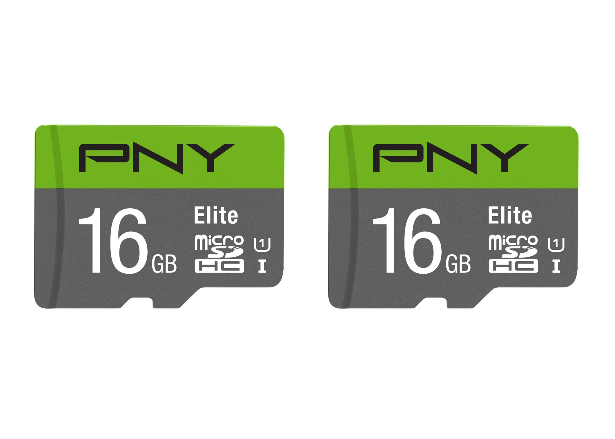PNY 16GB Elite Class 10 U1 microSDHC Flash Memory Card 2-Pack (P-SDU16GX2U185GW-GE) by PNY