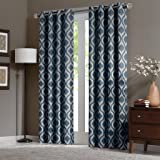 Amazon Com Threshold One Window Curtain Panel Blue Zigzag