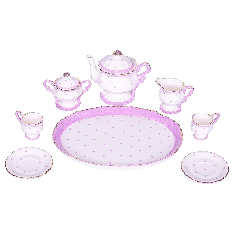 Sea Island Imports Purple Fancy Dots Design White Porcelain Childrens Tea Party Set Inc.