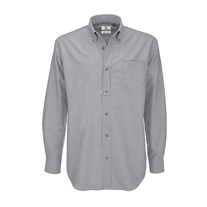 6de2e9a79e46 B&C Mens Oxford Long Sleeve Shirt Camicia Business, Argento (Silver Moon  000),