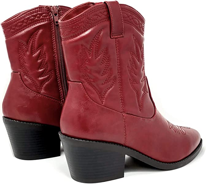0b75c7fac05cd Soda Topshoeave Picotee Women Western Cowboy Cowgirl Stitched Ankle Boots