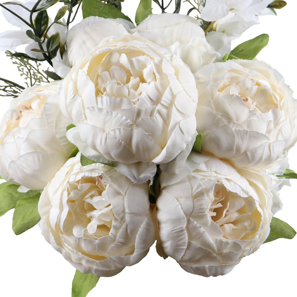LeagelFake Flowers Vintage Artificial Peony Silk Flowers Bouquet Wedding Home Decoration, Pack of 1 (Spring White)