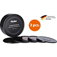 Rollei Premium Objektiv Grau Filterset bestehend aus: je 1x ND 8, ND 64 und ND 1000 Filter aus Gorilla Glas mit Aluminium Ring für Langzeitbelichtung mit Aluminium-Schutzdeckel. (62mm)