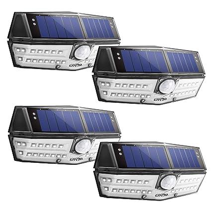 Litom - Luces solares para exteriores de 4ª generación, 30 LED, sensor de movimiento