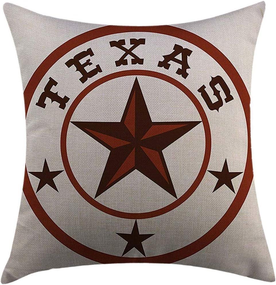 Housse de coussin Throw Pillow Cover Texas Star Symbole rond avec Lone Star Earth Illustration monochromatique tonique brun fonc/é et marron Coussin d/écoratif pour la maison Taie doreiller 45X45cm