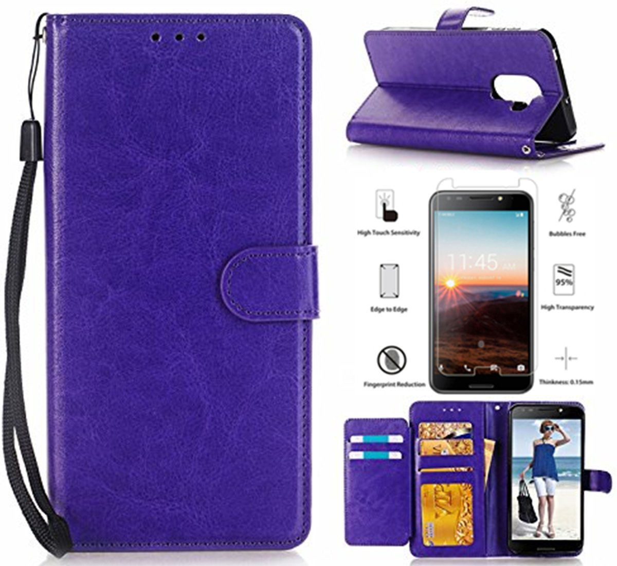 T-Mobile REVVL 5049W Case, Alcatel A30 Plus Walters Case, Alcatel A30 Fierce Case With Screen Protector,L00KLY [Kickstand] [Card Slot] [Wrist Strap] Slim Magnetic Flip Folio PU leather Wallet (Purple)