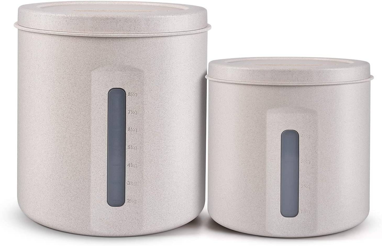 Environmental Wheat Straw Sealed Food Storage Container for Kitchen Rice Flour Soybean Grain Cereal (White, ((169oz / 5L and 338oz / 10L),Pack-2))