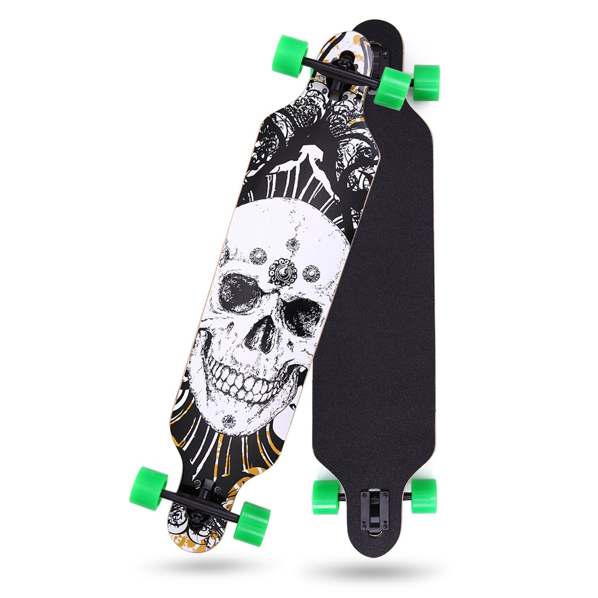 LAZYMOON 41'' X 10'' Professional Long Board Skateboard Cruiser Through downhill 9 Layer Canadian Maple Complete, Black Skull