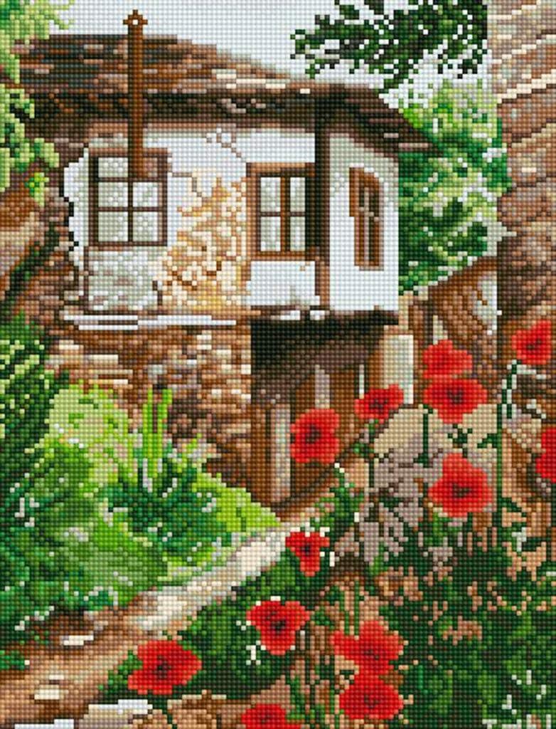 5D Diamond Painting Kits Full Round DIY Cross Stitch Pattern Rhinestone Embroidery Kits Arts Craft Wall Sticker 16x20 Countryside House