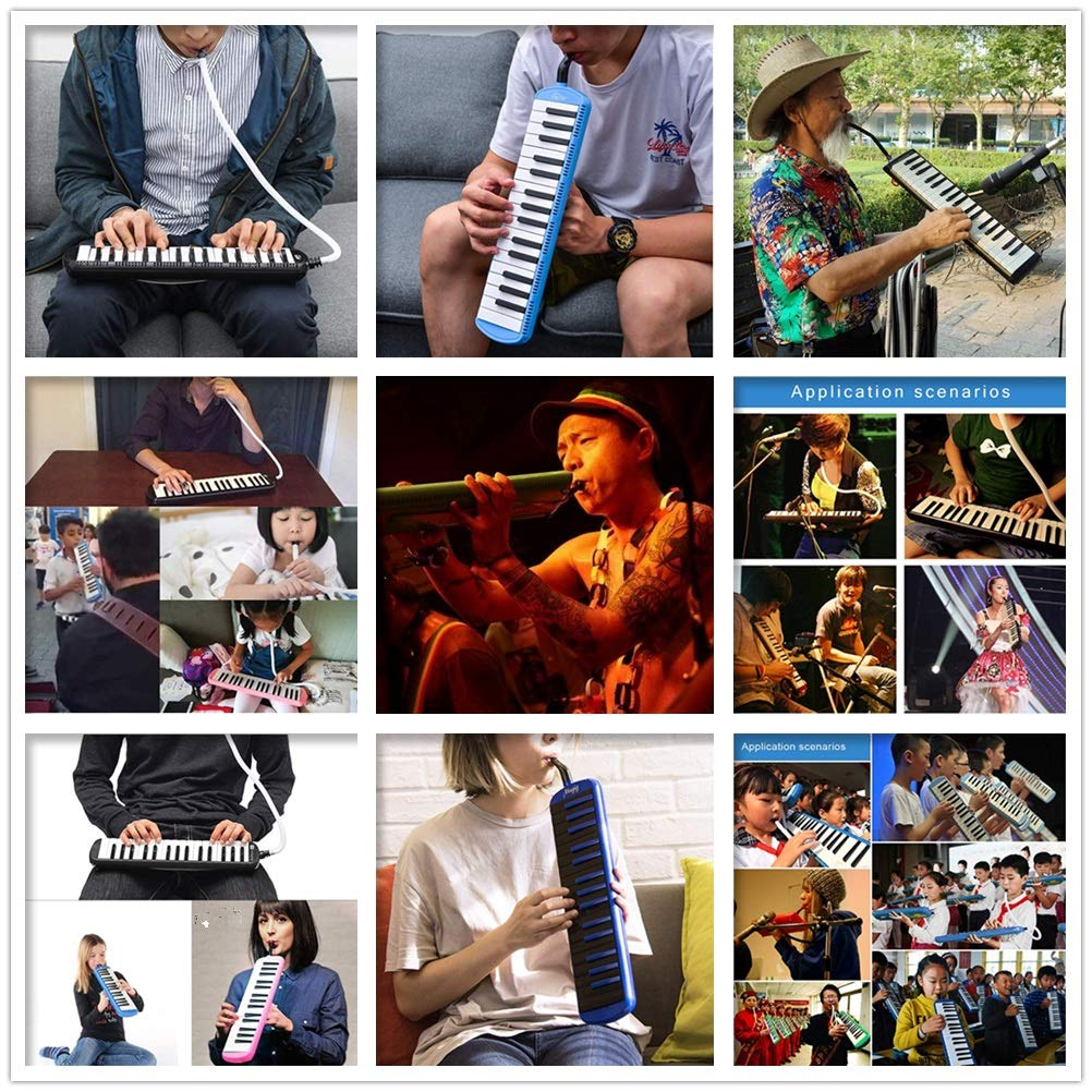 Melodica Musical Instrument 37 Keys Kids Musical Piano Melodica Instrument Gift Toy Pianica Melodica For Music Lovers Beginners Portable With Mouthpieces Tube Sets Carrying Bag Pink Blue For Music Lov by Kindlov-mus (Image #6)