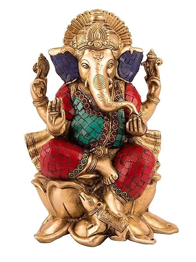 Collectible India Brass Ganesh Statue (16 cm x 11 cm x 25.4 cm) Idols & Figurines at amazon
