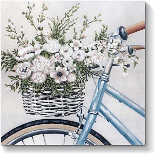Abstract Flowers Artwork Canvas Painting Floral Bouquet in Bicycle Hand Painted Wall Art on Canvas for Office Bedroom 24 x 24 x 1 Panel