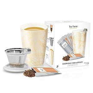 Kati Cup and Tea Set, Single Steeps Loose Leaf Tea Sampler and Kati Tea Cup with Infuser and Lid