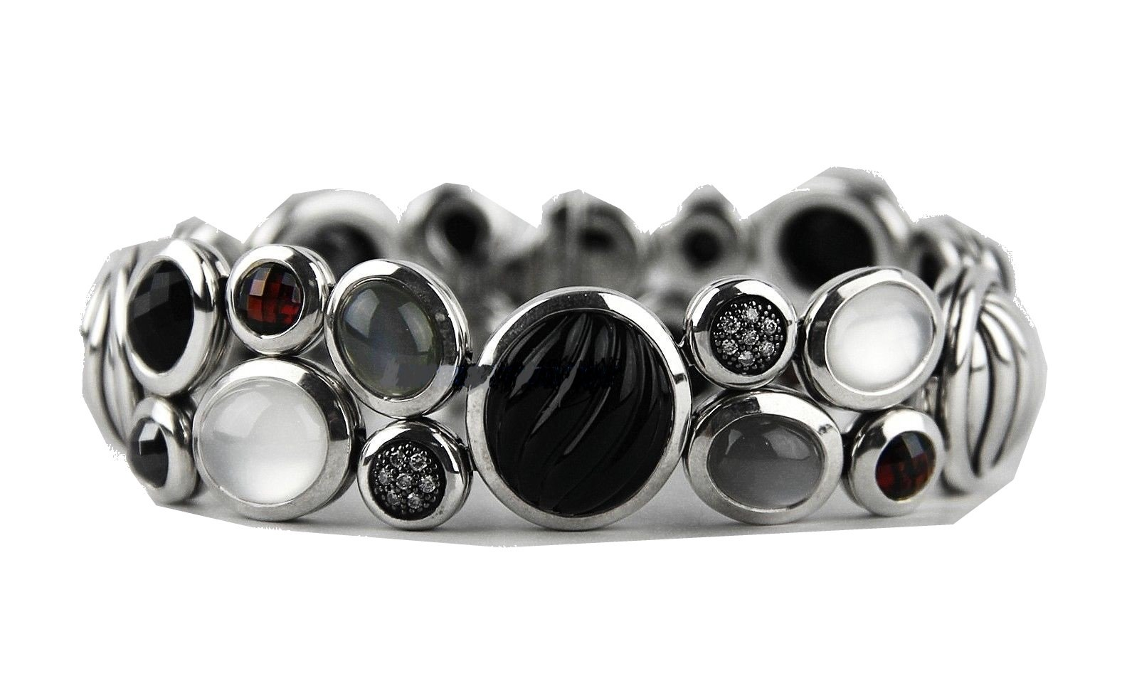 DAVID YURMAN TUXEDO STARLIGHT MOSAIC DIAMOND SEMIPRECIOUS STONES SILVER BRACELET
