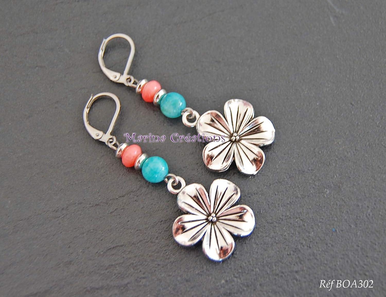 Pendientes flor tiaré amazonita turquesa y coral