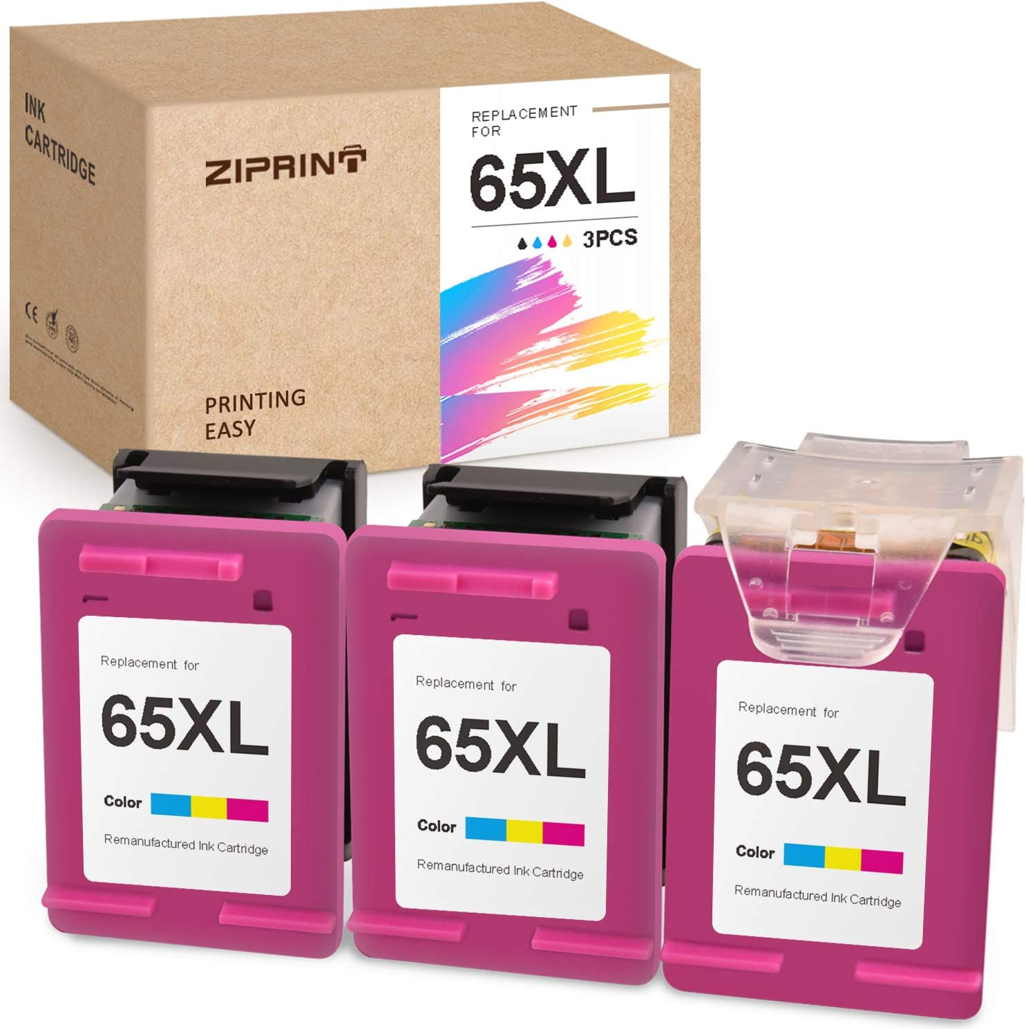 ZIPRINT Remanufactured Ink Cartridge Replacement for HP 65 65XL ECO-Saver for Deskjet 3755 3752 3722 2655 2652 2622 3758 2624 3720 2635 Envy 5055 5052 5010 5020 5030 (3 Tri-Color)