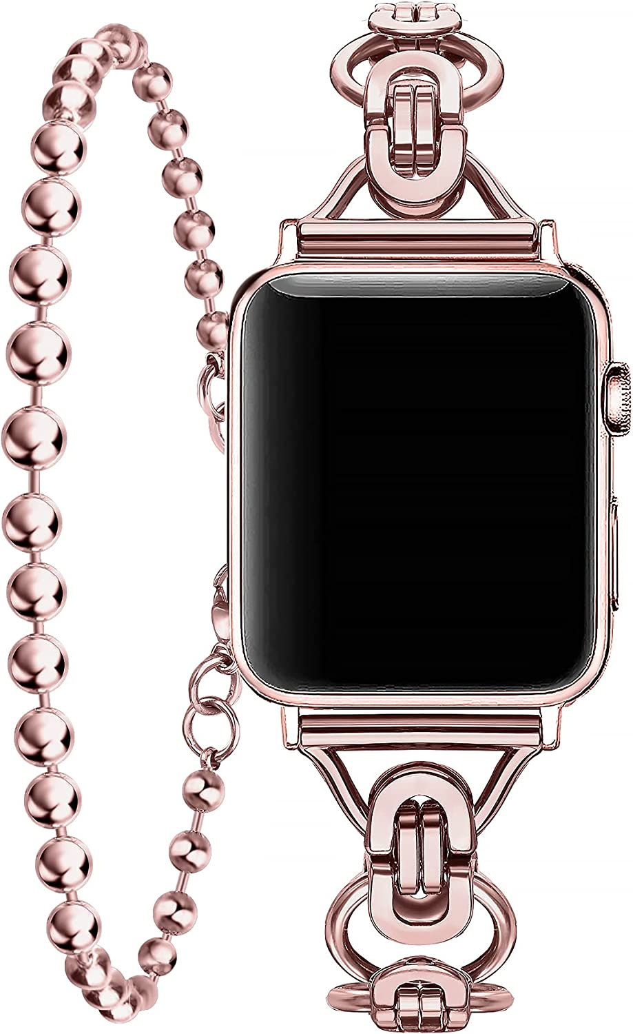 Secbolt Bands Compatible with Apple Watch Band 38mm 40mm iWatch SE Series 6/5/4/3/2/1, Women Dressy Double Tour Bracelet Ball Chain Wristband Stainless Steel
