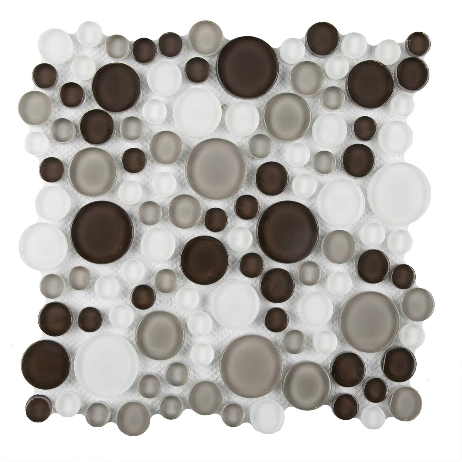 Glass Mosaic Tile,''Bubble Collection'', GM 4102 - Tapioca, Mixed Rounds, 11''X11'' (Box of 5 Sheets)