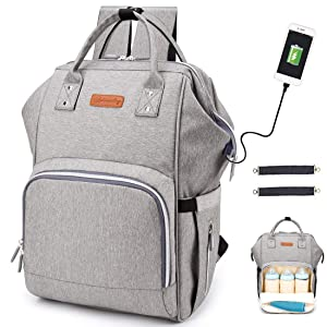 Diaper Bag Backpack, hopopower Multifunction Travel BackPack with USB Charging Port Insulated Pockets Maternity Baby Nappy Bag School Work Everyday Carry Bag, Waterproof and Stylish, Gray
